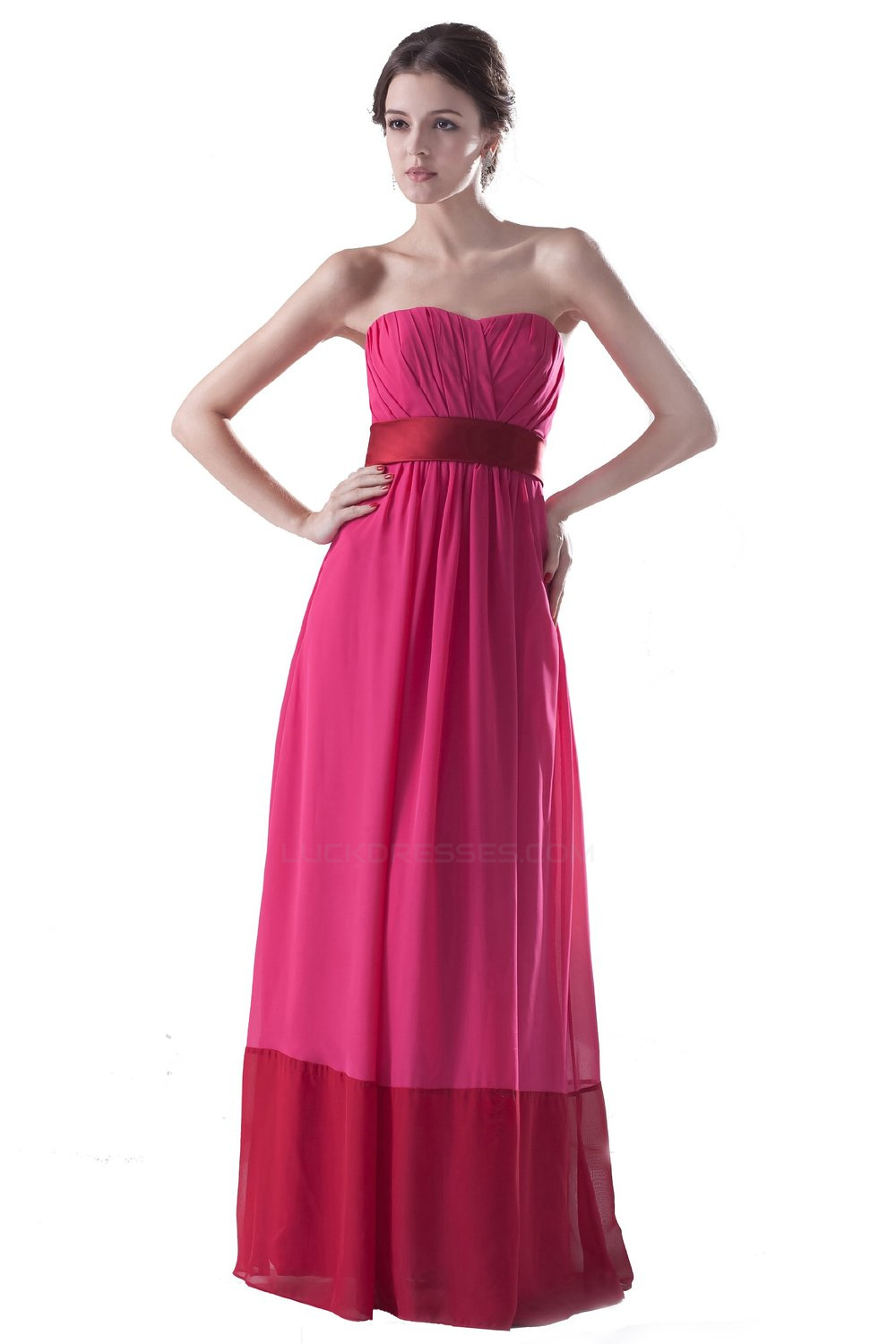 Strapless Long Chiffon Bridesmaid Dresses/Wedding Party Dresses ...
