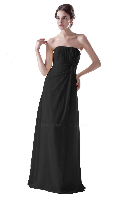 aline strapless long black chiffon bridesmaid dresses