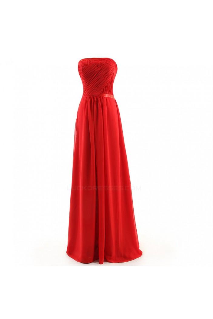 A-Line Strapless Long Chiffon Bridesmaid Dresses/Wedding Party Dresses BD010107