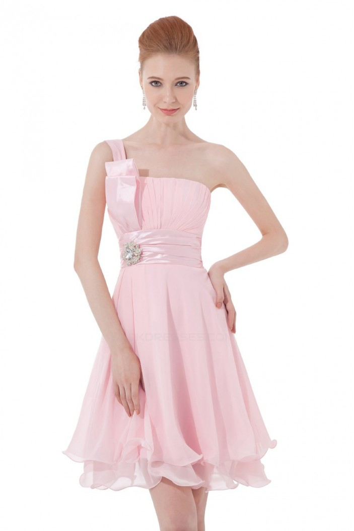 A-Line One-Shoulder Short Pink Chiffon Bridesmaid Dresses/Wedding Party Dresses BD010115