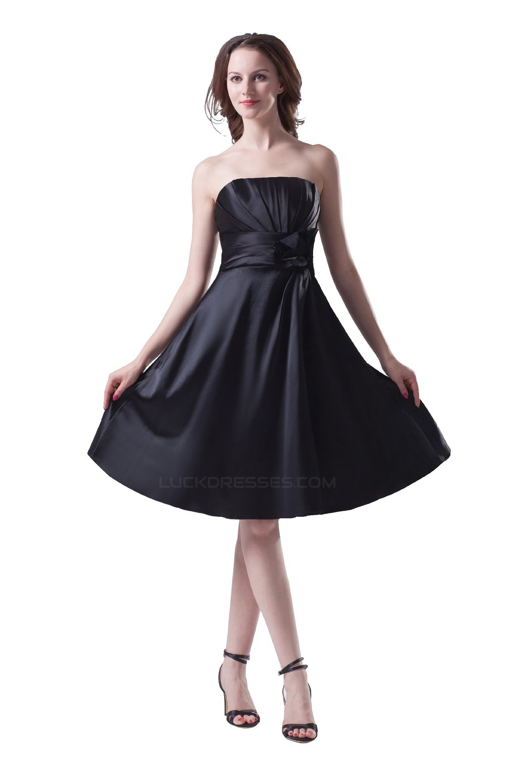 e7900572c6de A-Line Strapless Short Black Satin Bridesmaid Dresses/Wedding Party Dresses  BD010116