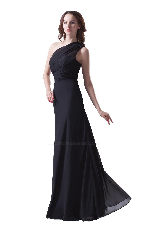 8488364eb7f A-Line One-Shoulder Long Black Chiffon Bridesmaid Dresses/Wedding Party  Dresses BD010117