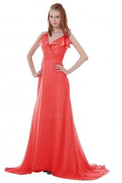A-Line Spaghetti Strap V-Neck Long Chiffon Bridesmaid Dresses/Wedding Party Dresses BD010136