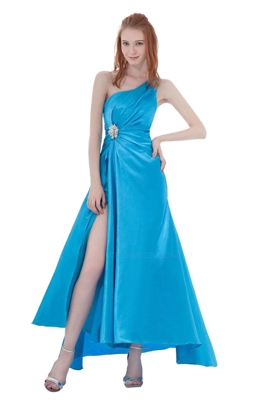 A-Line One-Shoulder Beaded Long Blue Bridesmaid Dresses/Wedding ...