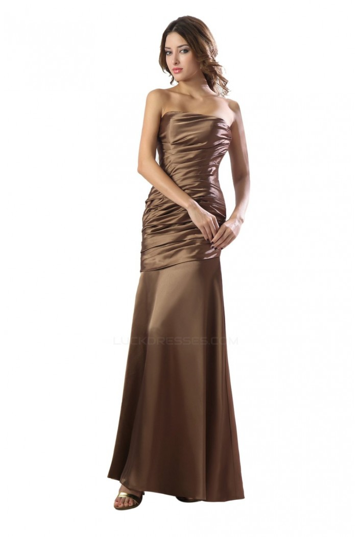 Sheath strapless long satin bridesmaid dresses wedding for Dresses for wedding party