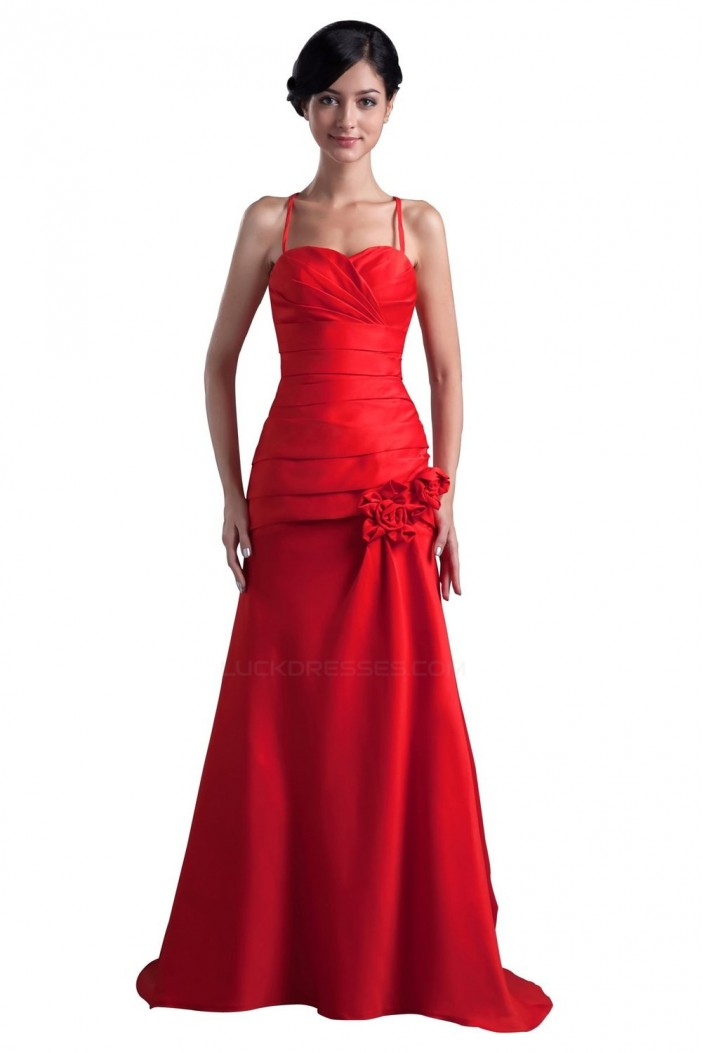 A-Line Spaghetti Strap Long Red Bridesmaid Dresses/Wedding Party Dresses BD010152