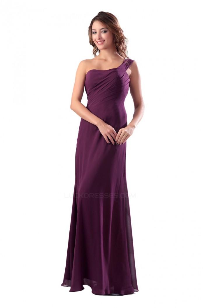 Sheath/Column One-Shoulder Grape Long Chiffon Bridesmaid Dresses/Wedding Party Dresses BD010154