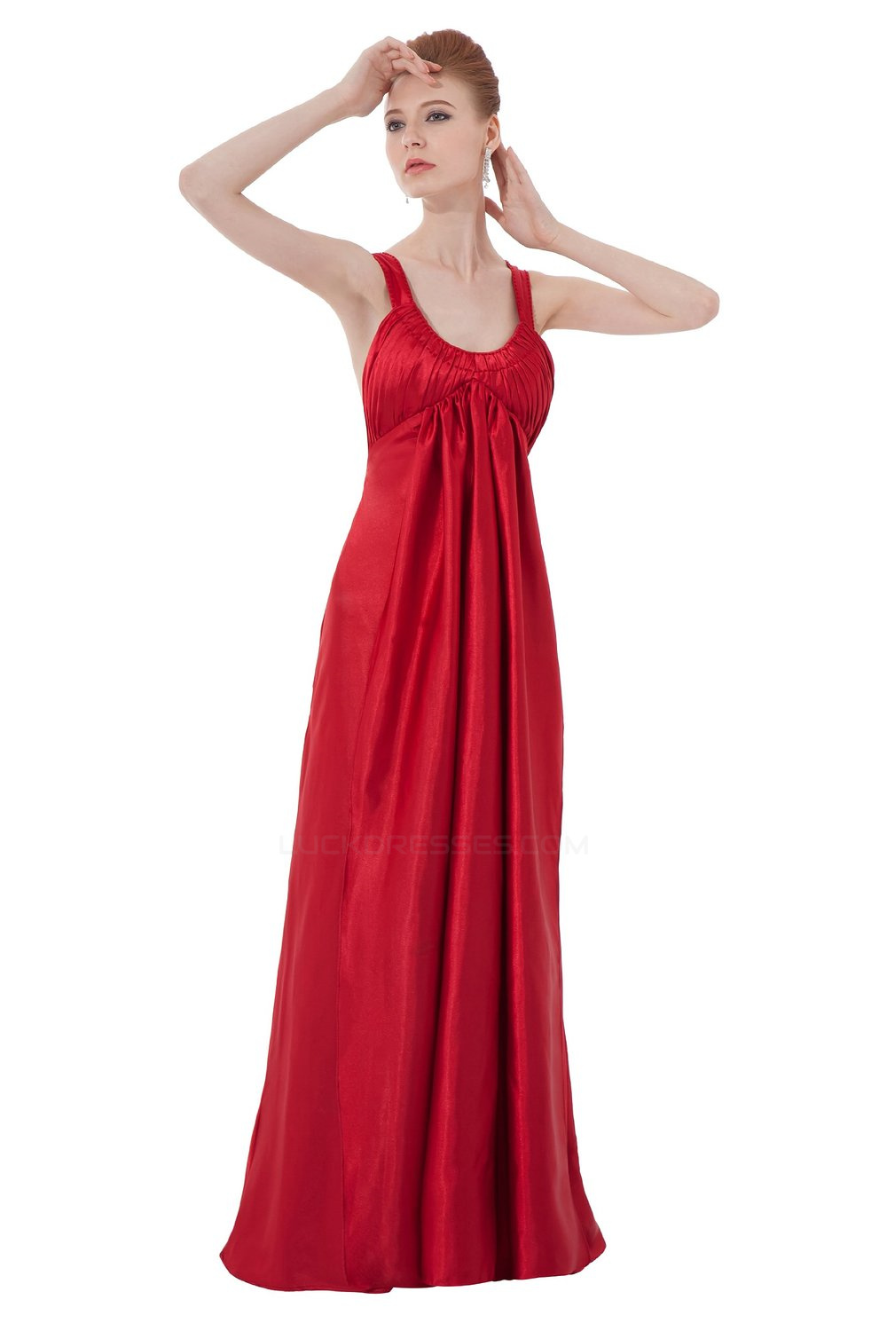 Empire Long Red Bridesmaid Dresses Wedding Party Dresses Maternity