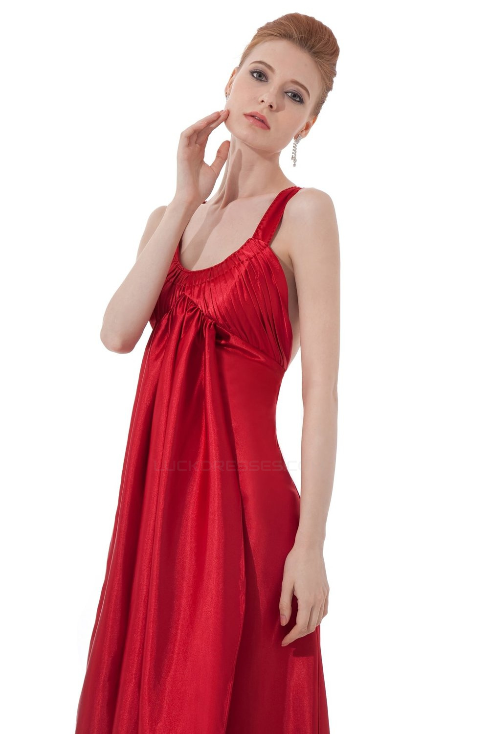 Empire Long Red Bridesmaid Dresses Wedding Party Dresses