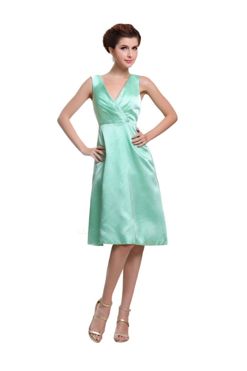 A-Line V-Neck Knee-Length Mint Green Satin Bridesmaid Dresses ...