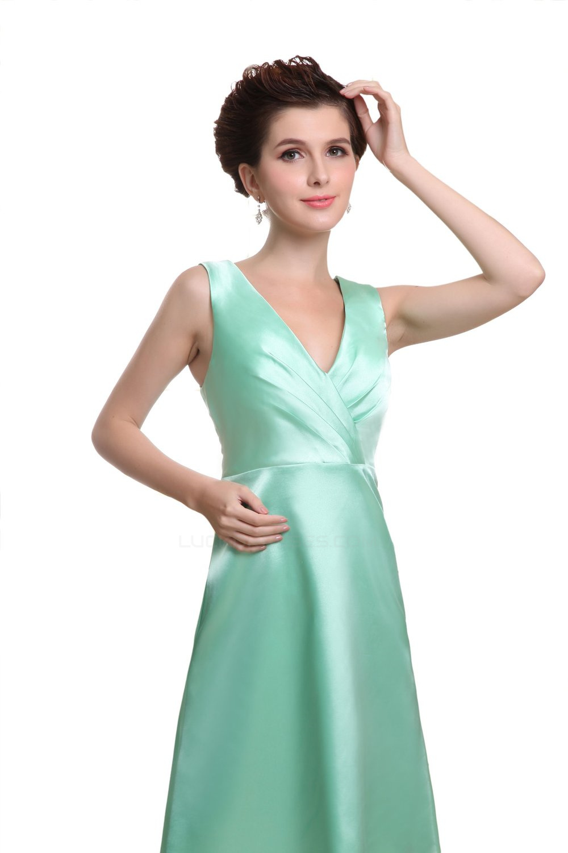 A-Line V-Neck Knee-Length Mint Green Satin Bridesmaid Dresses ...