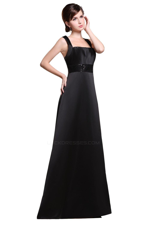 A Line Straps Sleeveless Long Black Satin Bridesmaid