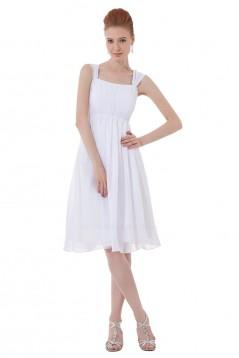 A-Line Straps Short White Chiffon Bridesmaid Dresses/Wedding Party Dresses BD010190