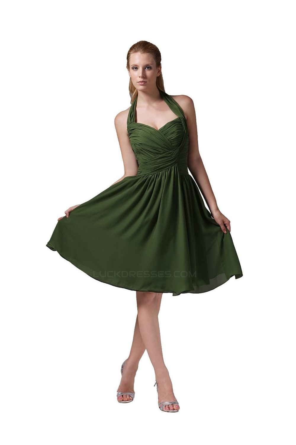 A Line Halter Green Short Chiffon Bridesmaid Dresses