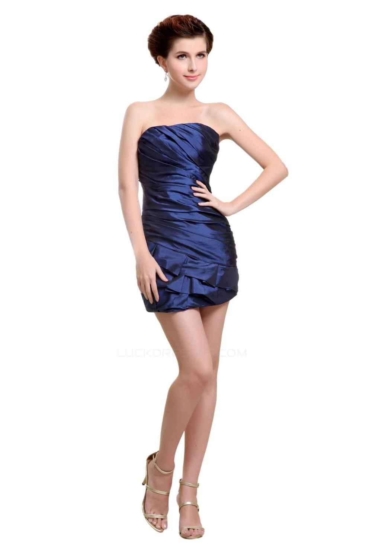 Short/Mini Strapless Navy Blue Bridesmaid Dresses/Wedding Party ...