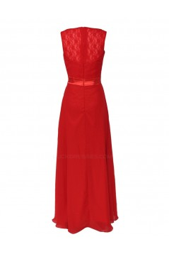 A-Line V-Neck Red Chiffon and Lace Back Long Bridesmaid Dresses/Wedding Party Dresses BD010195