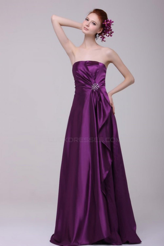 A Line Strapless Purple Floor Length Bridesmaid Dresses