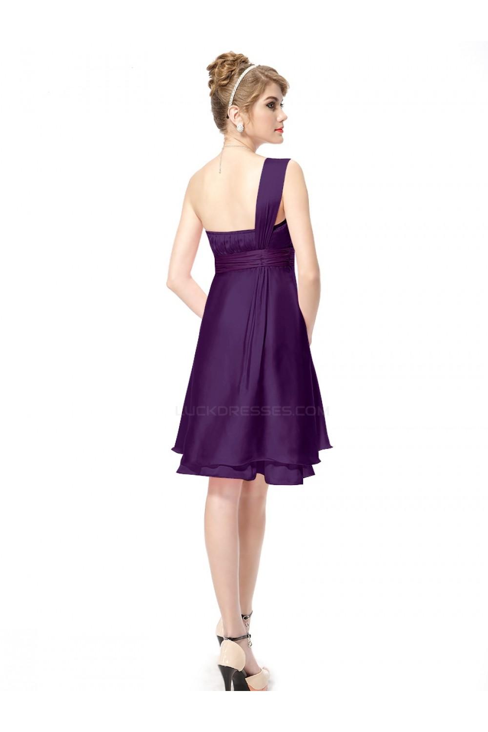 aline oneshoulder short purple bridesmaid dresses