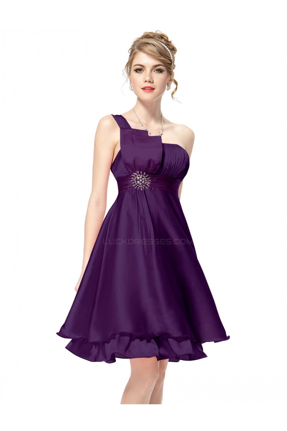 A-Line One-Shoulder Short Purple Bridesmaid Dresses/Wedding Party ...