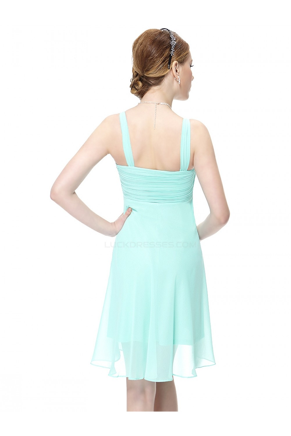 Short Blue Chiffon Bridesmaid Dresses/Wedding Party Dresses ...