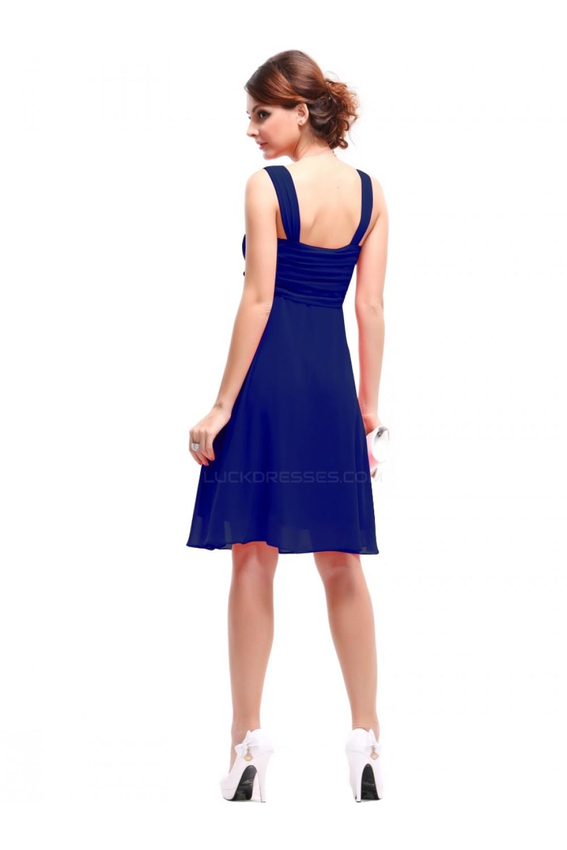 Empire Short Blue Chiffon Bridesmaid Dresseswedding Party Dresses