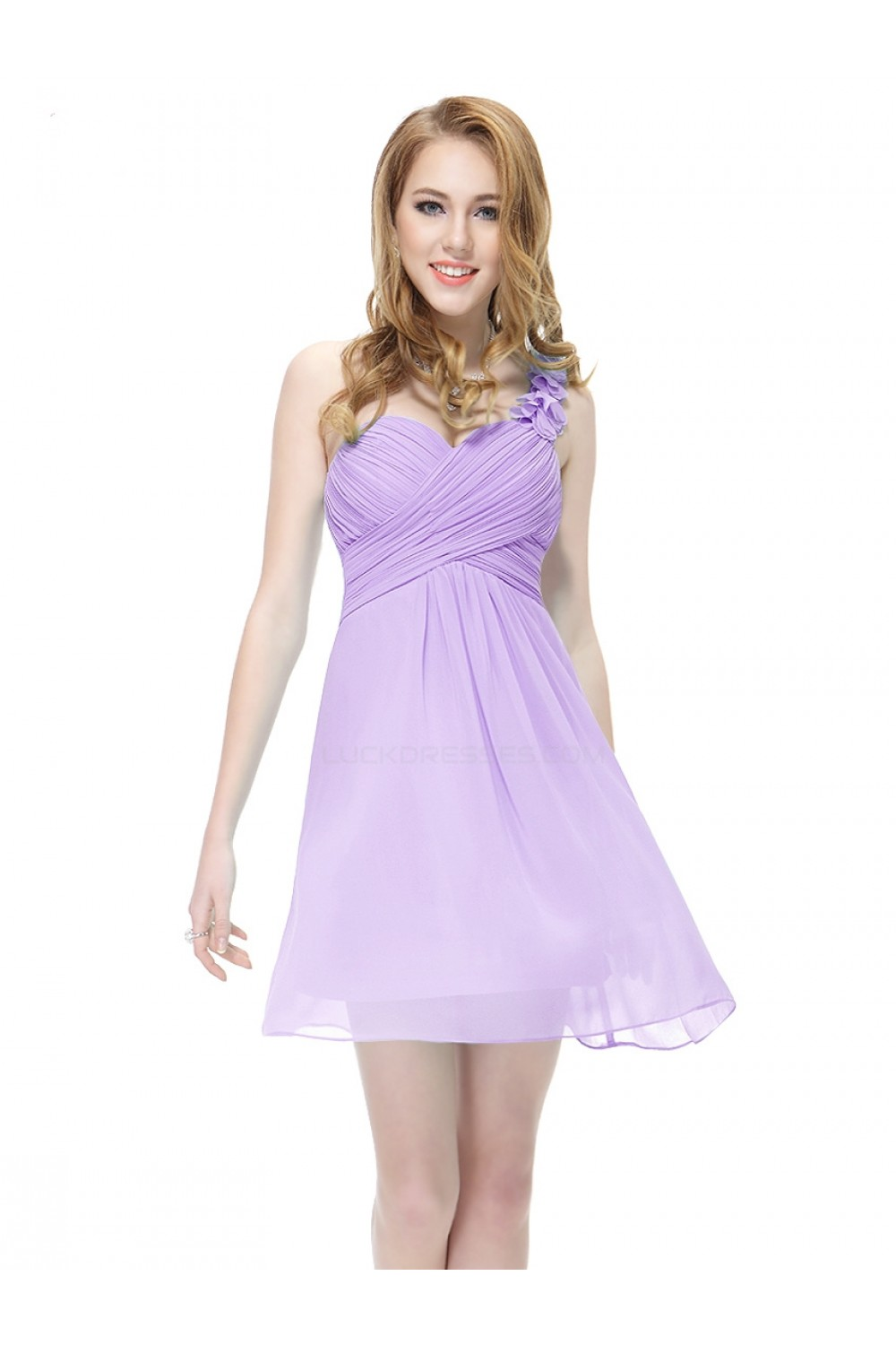 6e89c99b8 A-Line One-Shoulder Short Lilac Chiffon Bridesmaid Dresses ...