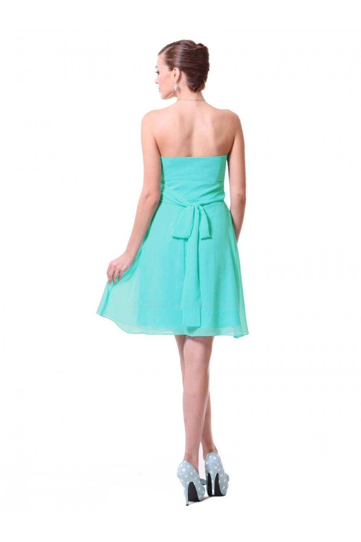 A-Line Empire Sweetheart Green Chiffon Short Bridesmaid Dresses ...