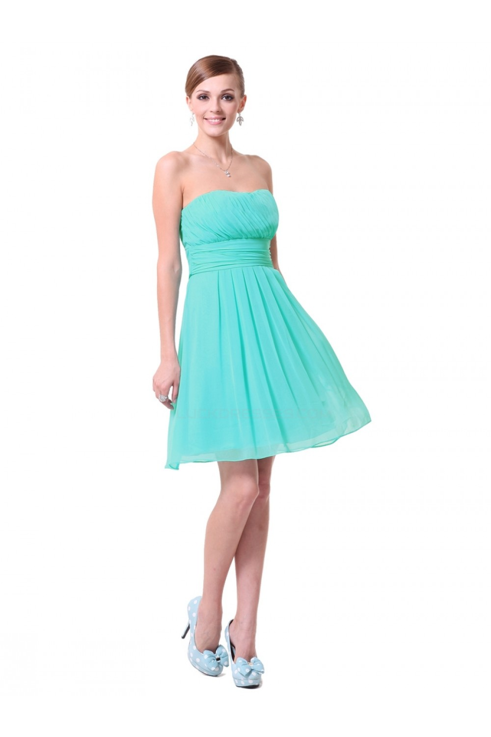 A-Line Empire Sweetheart Green Chiffon Short Bridesmaid Dresses ...