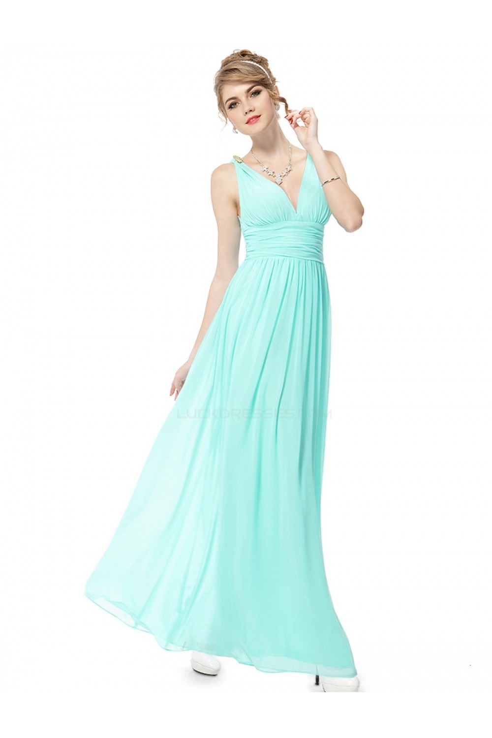 A-Line V-Neck Long Blue Chiffon Bridesmaid Dresses/Wedding Party ...
