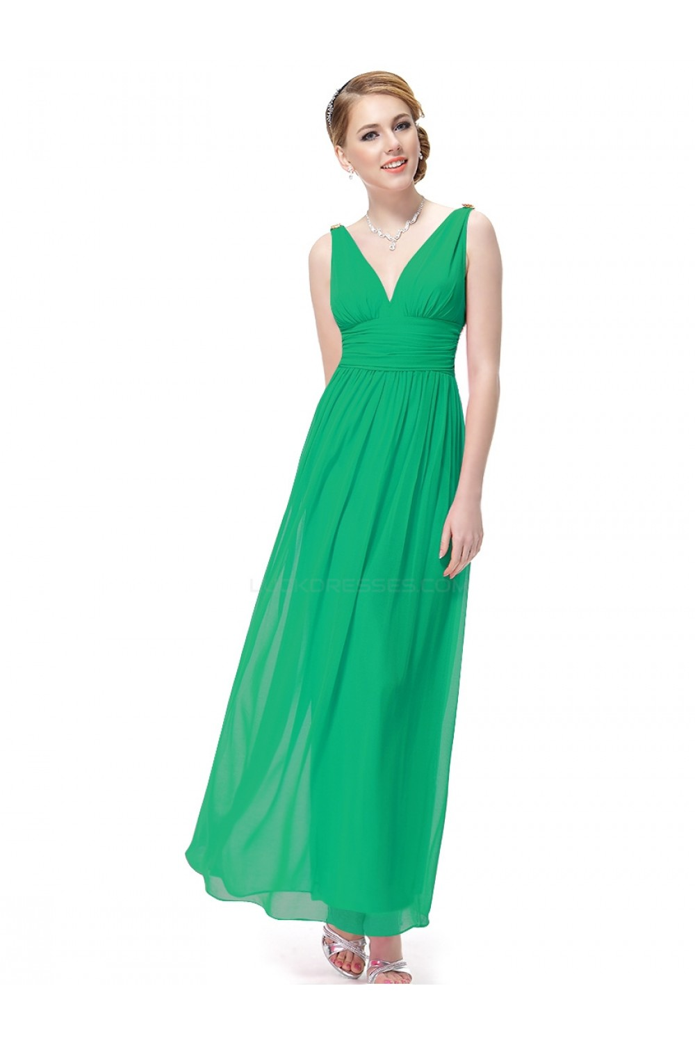 A-Line V-Neck Long Green Chiffon Bridesmaid Dresses/Wedding Party ...