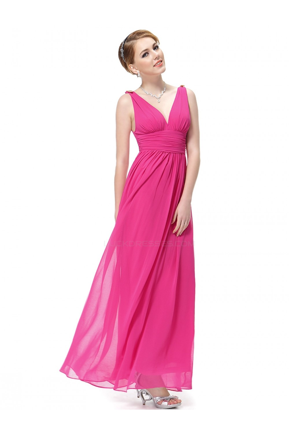 A-Line V-Neck Hot Pink Long Chiffon Bridesmaid Dresses/Wedding Party ...