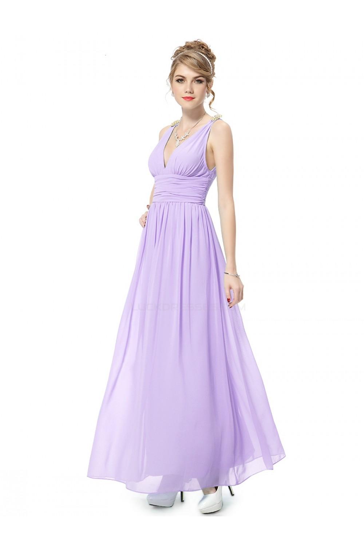 A Line V Neck Long Lilac Chiffon Bridesmaid Dresses