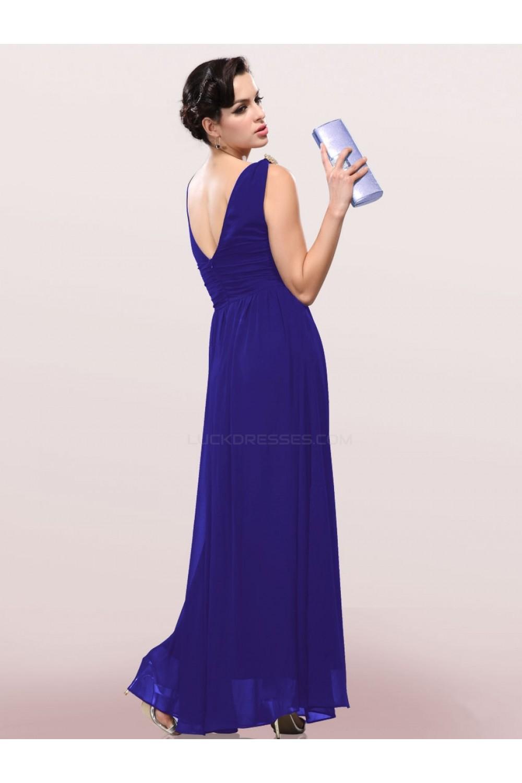 Line V-Neck Long Royal Blue Chiffon Bridesmaid Dresses/Wedding Party ...