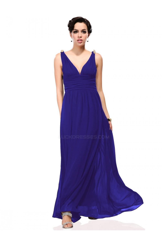 A-Line V-Neck Long Royal Blue Chiffon Bridesmaid Dresses/Wedding ...