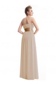 A-Line Empire Strapless Floor-Length Chiffon Bridesmaid Dresses/Wedding Party Dresses/Maternity Dresses BD010248