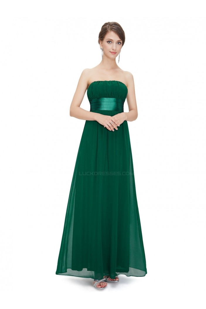A-Line Empire Strapless Long Green Chiffon Bridesmaid Dresses/Wedding Party Dresses/Maternity Dresses BD010249