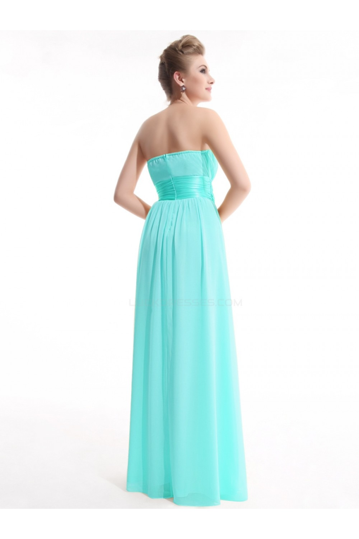 A-Line Empire Strapless Long Blue Chiffon Bridesmaid Dresses/Wedding ...