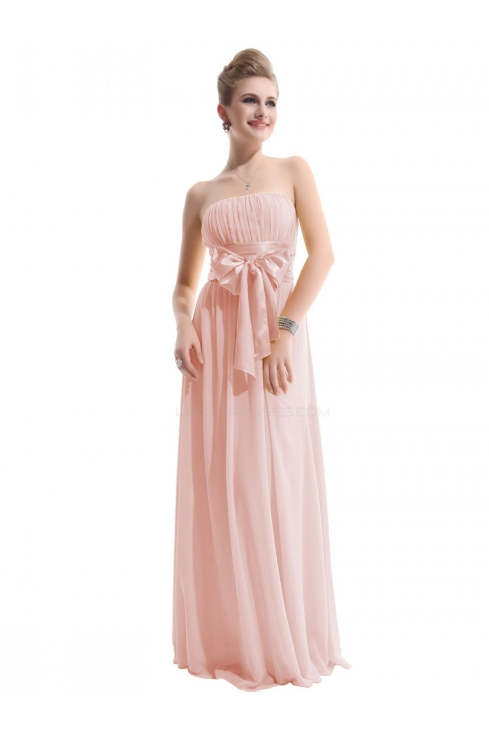 A-Line Empire Strapless Long Pink Chiffon Bridesmaid Dresses/Wedding ...
