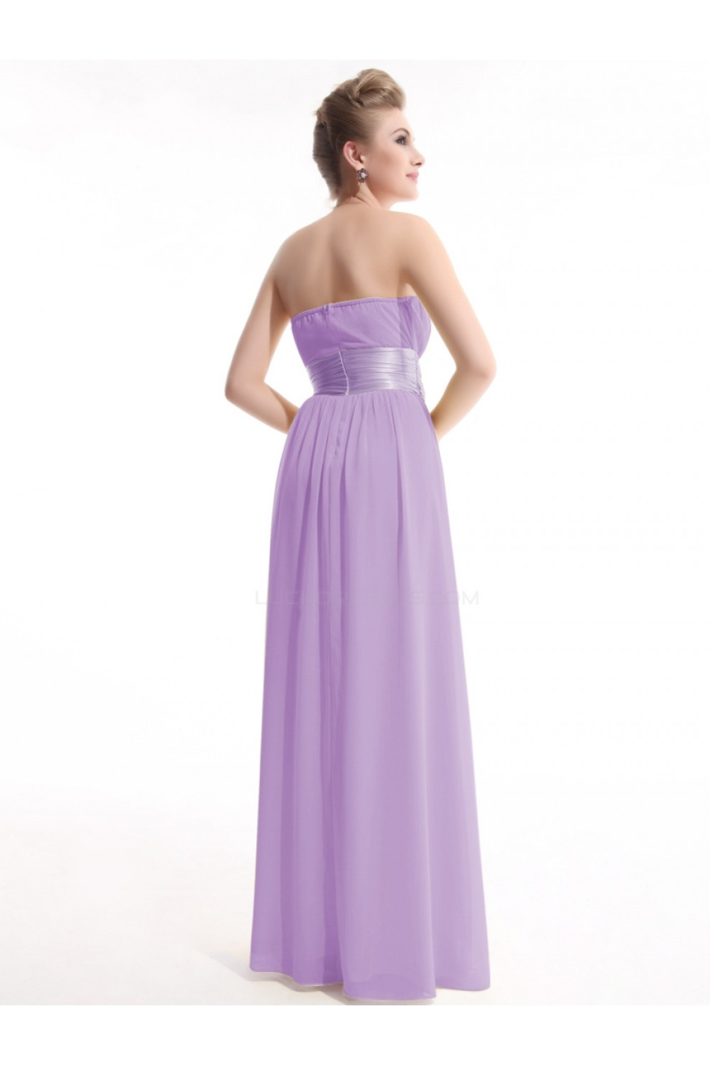 A-Line Empire Strapless Long Lilac Chiffon Bridesmaid Dresses ...