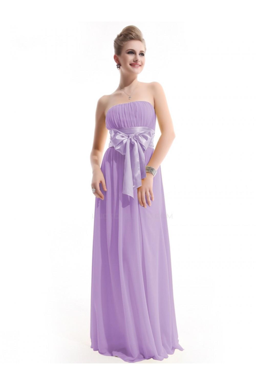 3615470c6e8 A-Line Empire Strapless Long Lilac Chiffon Bridesmaid Dresses ...