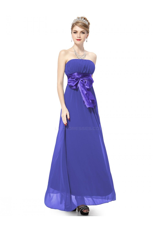 A-Line Empire Strapless Long Chiffon Bridesmaid Dresses/Wedding ...
