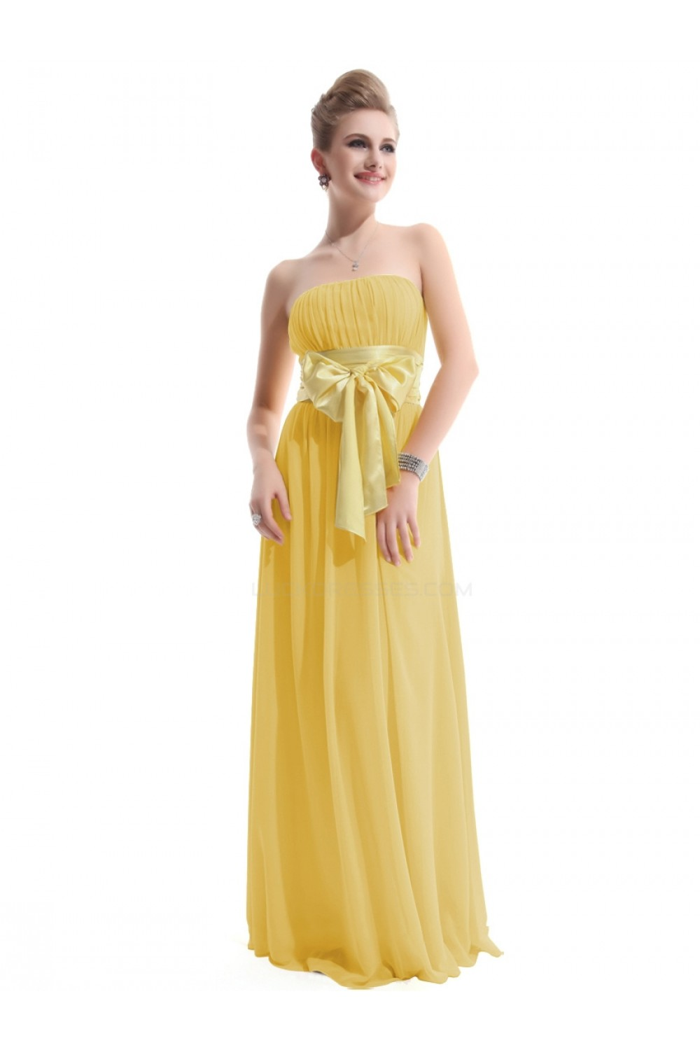 A-Line Empire Strapless Long Yellow Chiffon Bridesmaid Dresses ...