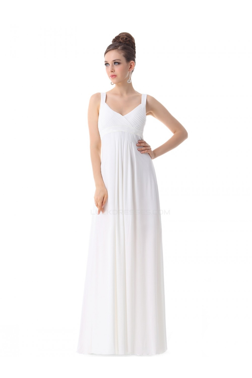 Empire Long White Chiffon Bridesmaid Dresses/Wedding Party Dresses ...