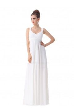 Empire Long White Chiffon Bridesmaid Dresses/Wedding Party Dresses/Maternity Evening Dresses BD010258