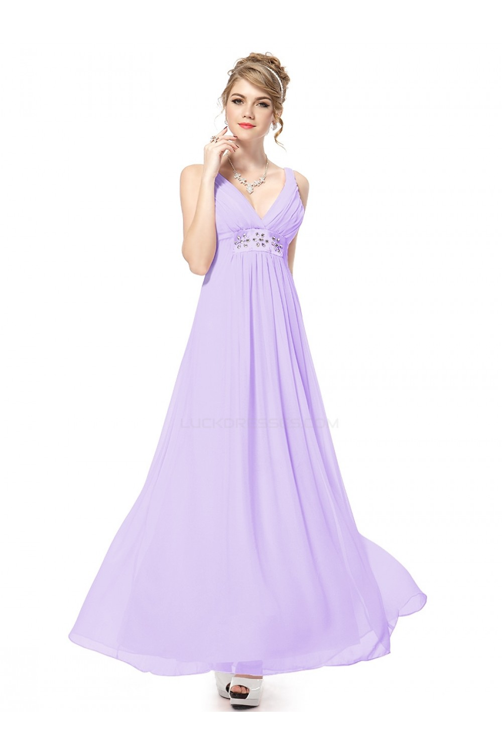 cd980578f8618 Empire Long Purple Beaded Chiffon Bridesmaid Dresses/Wedding ...