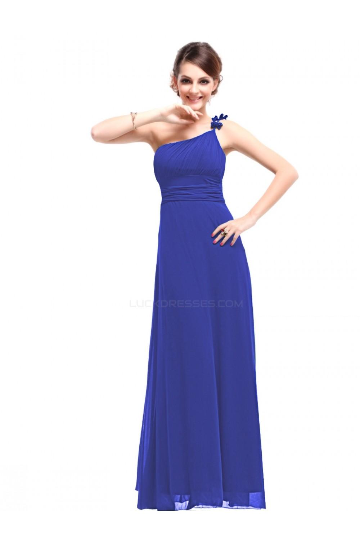 A-Line One-Shoulder Long Royal Blue Chiffon Bridesmaid Dresses ...