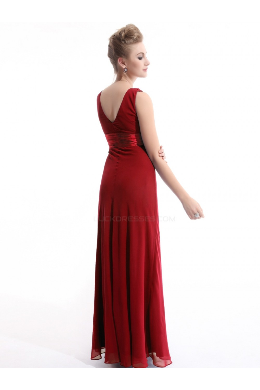 V neck long red chiffon bridesmaid dressesevening dresses bd010267 sheath v neck long red chiffon bridesmaid dressesevening dresses bd010267 ombrellifo Image collections