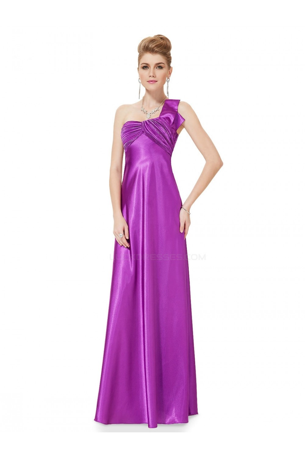 empire oneshoulder purple long chiffon bridesmaid dresses