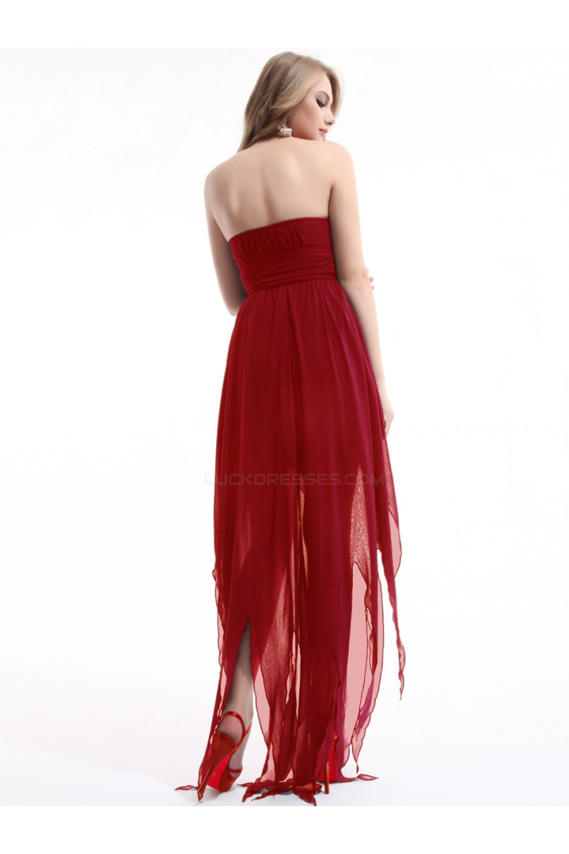 Low strapless red chiffon bridesmaid dressesevening dresses bd010277 high low strapless red chiffon bridesmaid dressesevening dresses bd010277 ombrellifo Images