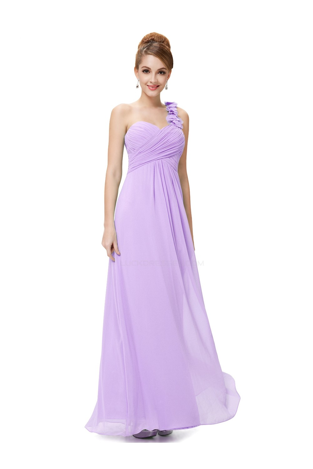 A-Line One-Shoulder Sweetheart Long Lilac Chiffon Bridesmaid Dresses ...